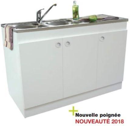 Meuble Sous Evier 3 Portes Melamine Blanc 120x60 Amazon Fr Bricolage