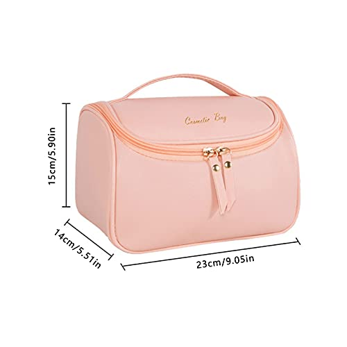 Keepfit Solid Color Zipper Up Leather Makeup Bag Large Deep Handbag Traveling Cosmetic Organizer for Women and Girls, Make up Waterproof Travel Bags for Travel, 2021 New (Pink)