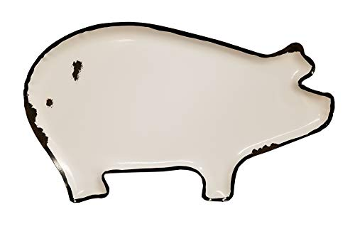 (HM Vintage White Distressed Metal Pig Plate Tray Decorative)