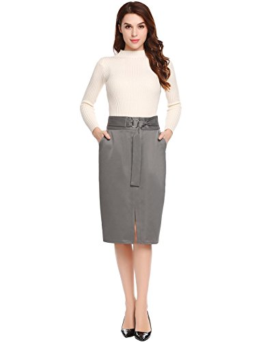 SHINE Women's High Waist Stretch Bodycon Pencil Skirt, Grey, Medium (Buckle Pencil Skirt)