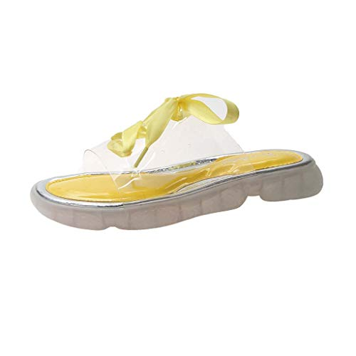 Women's Slipper Fashion Transparent Solid Color Ribbon Casual Round Toe Slip Flat Shoes (US:7.5, Yellow)