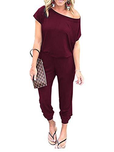 Famulily Women's Casual Cold One Shoulder Short Sleeve Long Pants Jumpsuit Rompers Outfits with Pockets Wine Small