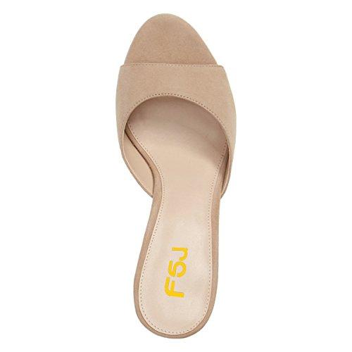 Mules 5 Slip Suede Sandals Toe Fsj Us 4 Slide 15 Shoes Faux High Beige On Peep Casual Heel Size Women Cm xqwpH8wX