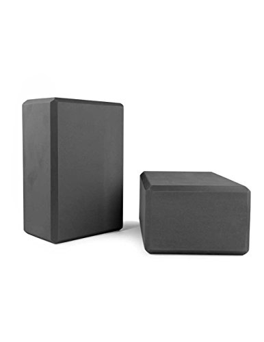 2 Pack 9 inches x 6 inches x 4 inches Black Yoga Blocks - Saver Pack