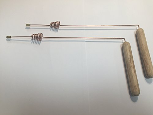Set of 2 dowsing divining L rods cooper coated 23 cm ( 9 in ) wood handles