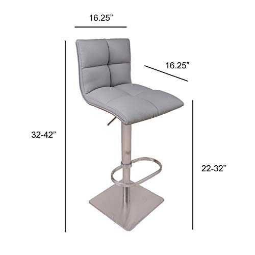 AC Pacific Contemporary Hydraulic Height Adjustable Stainless Steel Swivel Bar Stool Chair, 22 -32 , Gray