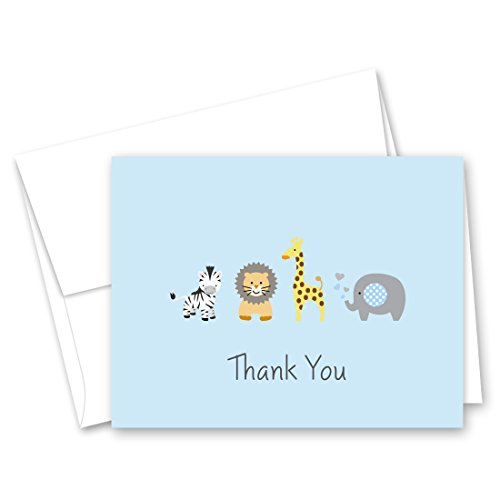 Way Baby Shower (50 Safari Animals Baby Shower Thank You Cards (Light Blue))
