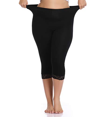 Women's Plus Size Capri Leggings Stretch Lace Trim Solid Cropped Leggings Pants Black