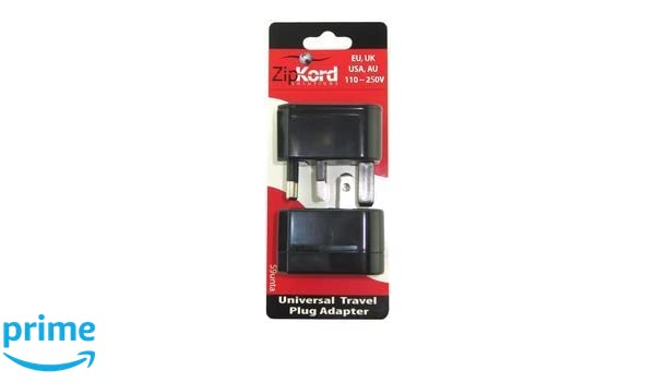 Ekg-Zipkord 59unta ZipKord Universal Travel Adapter Plug Converter Black