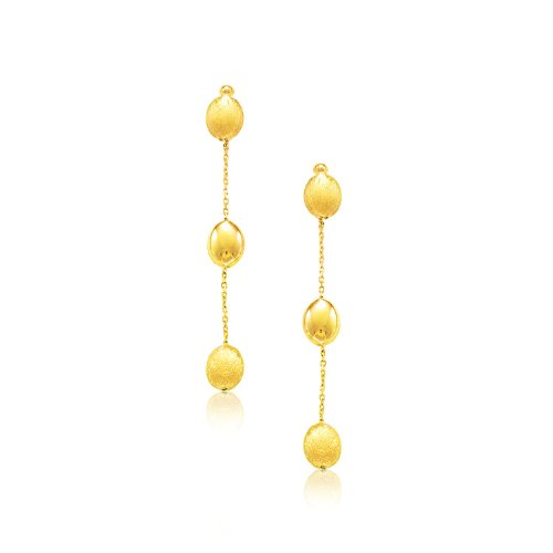 14K Yellow Gold Textured and Shiny Pebble Dangling (Yellow Gold Pebble)