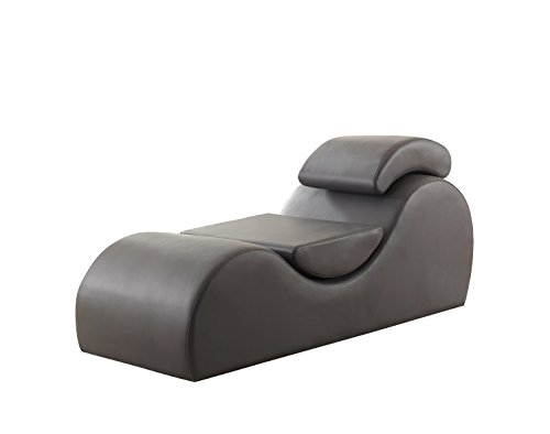 US Pride Furniture Faux Leather Deluxe Stretch Chaise Relaxation and Yoga Chair with Removable Pillows, Gray