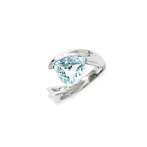 (14k White Gold Trillion Aquamarine Ring )