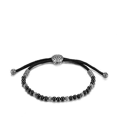 John Hardy Men's Classic Chain Silver Round Beads Pull Through Bracelet on Black Cord with Black Onyx, Size M Adjustable to L