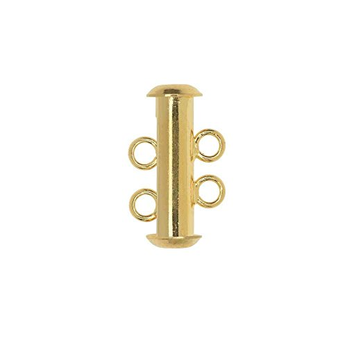 (BeadSmith, Magnetic Clasp, 2-Strand Slide Tube 17x4mm, 3 Sets, Gold Plated)