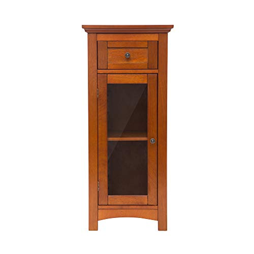 Glitzhome 34.33 Inch Wooden Furniture Floor Free Standing Storage Cabinet with 1 Drawer and 1 Door Brown