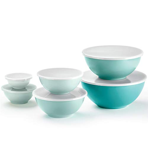 6-Piece Nesting Melamine Mixing Bowl Set with Lids, Teal Assorted Colors