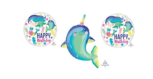 3 Narwhal Birthday Balloons - 1 39 Narwhal Balloon and 2 18 Round Happy Birthday Narwhal Balloons