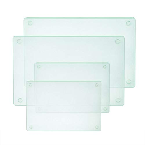Square Clear Tempered Glass Cutting Board Set, 4 Pcs, 11.75