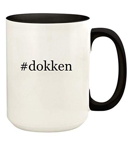 (#dokken - 15oz Hashtag Ceramic Colored Handle and Inside Coffee Mug Cup, Black)