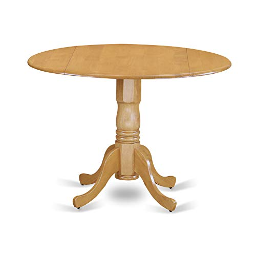 East West Furniture DLT-OAK-TP Round Table with Two 9-Inch Drop Leaves (Drop Leaf Pedestal)