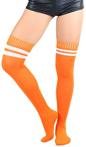 ToBeInStyle Women's Ribbed Athletic Thigh Highs - White/Orange - OS (Athletic Thigh Highs Ribbed)