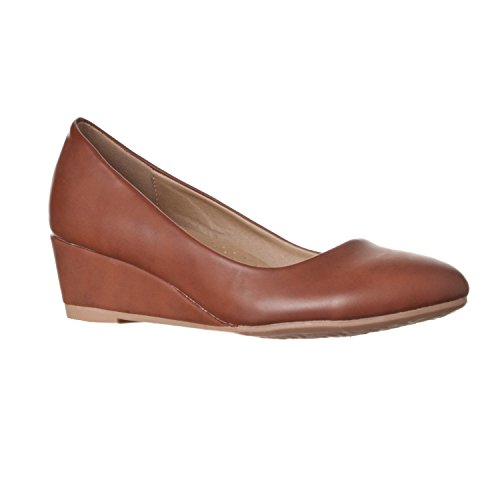 Riverberry Women's Alice Low-Height Round Toe Wedge Pumps, Brown PU, 10 ()