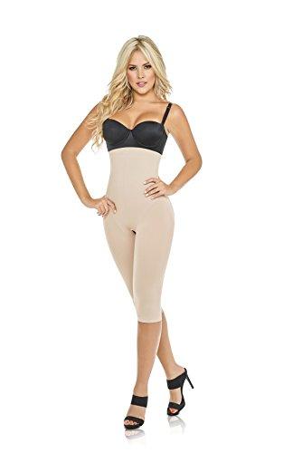 Shapewear Seamless Shaper Butt-Lift High Panty Capri Body Shaper Faja L-Beige