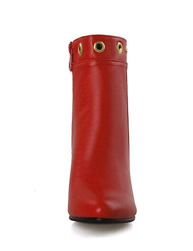 Puntiagudos Cn43 Casual Eu42 Xzz Uk8 De Tacón Stiletto 5 Rojo Negro Botas us10 5 Mujer Red Zapatos Botines Vestido Semicuero aYwzg