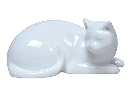 Amazon.com: 5.50 inch todo blanco porcelana esmaltada gato ...