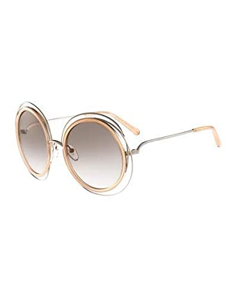 bf4190f5de7 Image Unavailable. Image not available for. Color  Chloe Carlina Round Wire  Metal Sunglasses