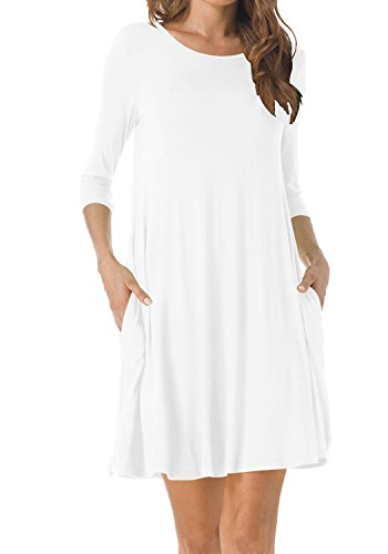 TINYHI Women's O-Neck 3/4 Sleeves Tunic Pocket Loose Casual Swing Tshirt Dress(White,Large) - Maternity Tunic Dress