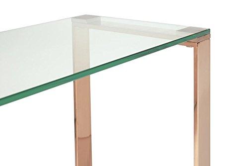 Kayla Console Table Hallway Rose Gold Finish Metal /& Glass Top Modern