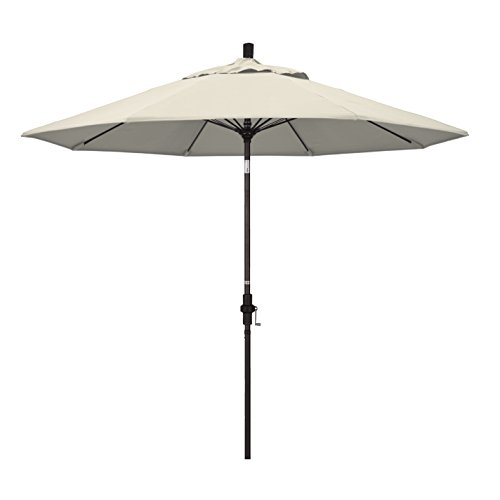 - California Umbrella 9' Round Aluminum Pole Fiberglass Rib Market Umbrella, Crank Lift, Collar Tilt, Bronze Pole, Antique Beige Olefin