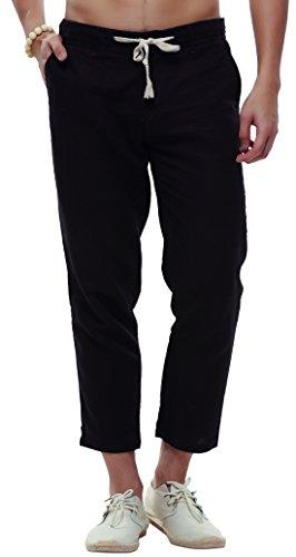 utcoco Men's Classic Drawstring Waist Tapered Flat-Front Linen Capris (Large, (Black Flat Front Capri)