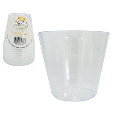 CROWN DINNERWARE COLD CUPS 9 OUNCE Party Cups/Old Fashioned Tumblers, 10 Count, Clear