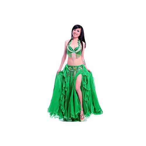 Women's Belly Dance Costume Nightclub Stage Performance Dancing Skirt Dress,Gold,M]()