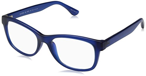 BluVue Unisex BL 1002 Slated Rectangular Blue Light Blocking Computer Tablet Smartphone Screen Reading Glasses, Matte Blue Frame, Diopter 2.0