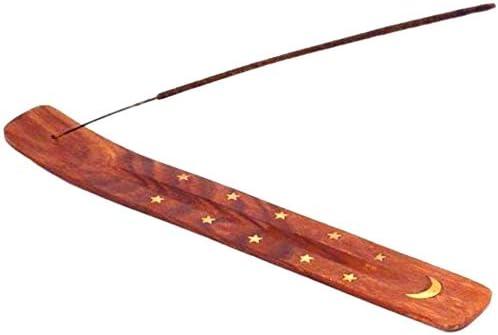 Valentine Special Handcrafted Incense Stick Holder Incense Ash Catcher - Incienso - Luna y estrellas incrustaciones de latón - Incensario quemador
