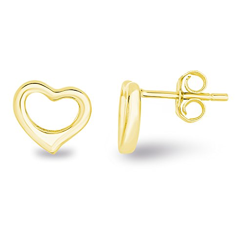14k Yellow Gold Plated 925 Sterling Silver Plain Hollow Heart Stud Earrings -
