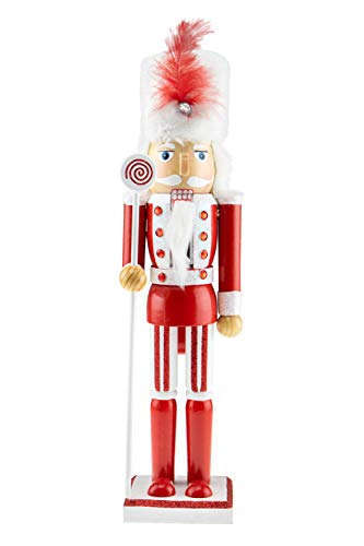 Clever Creations Wooden Christmas Soldier Nutcracker | Red and White Outfit Holding Lolipop Scepter | Festive Traditional Christmas Decor | 15