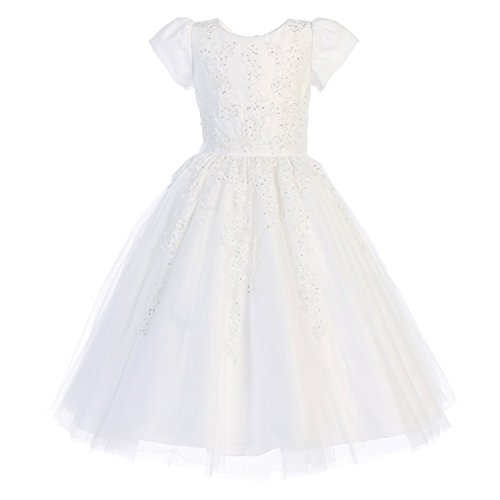 Lito Big Girls White Beaded Applique Tulle Tea-Length Communion Dress 12 by Lito