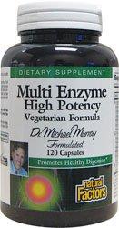 Natural Factors Dr. Murray Multi Enzyme Hihg Potency Vegetarian Formula, 120 Capsules