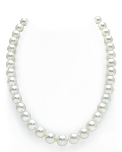 14K Gold 9-12mm Australian White South Sea Cultured Pearl Necklace - AAAA (White Australian South Sea Pearl)