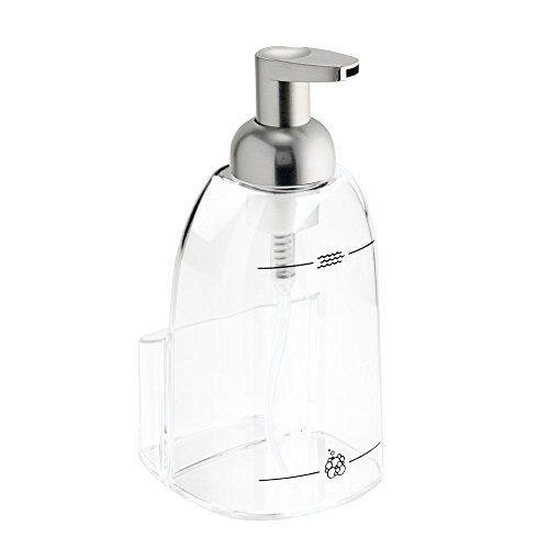 InterDesign Sinkworks Foaming Soap Dispenser and Sponge Caddy - Kitchen Sink Organizer, Clear/Brushed Nickel by InterDesign