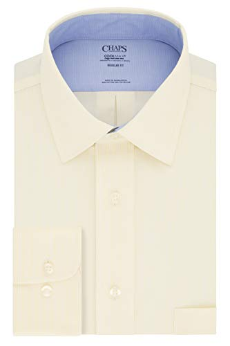 (Chaps Men's Dress Shirt Regular Fit Stretch Collar Stripe, Yellow, 18.5