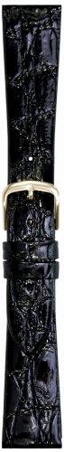 Hadley-Roma Men's MSM821RA-170 17-mm Black Genuine Caiman Crocodile Leather Watch Strap