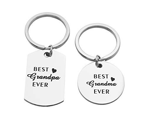 Eilygen Grandpa Grandma Keychain Set Stainless Steel Dog Tag Keyring Gift for Grandparents (Chain Key Set)