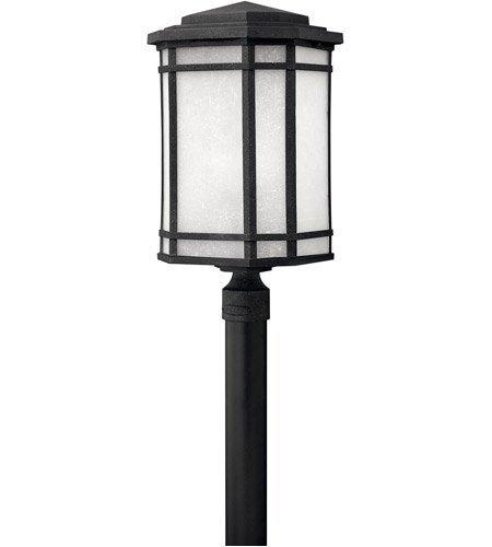 - Outdoor Post 1 Light With Vintage Black White Linen Cast Aluminum Medium Base 22 inch 100 Watts