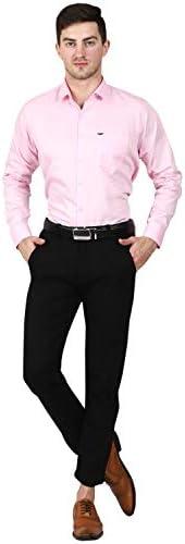 Karvy Men's Broken Twill Cotton Full Sleeves Formal Shirt for Men Pink