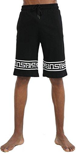 PIZOFF Unisex Fleece Bandana Paisley Capri Drawstring Jogger Shorts Y1752-Short-Black-S